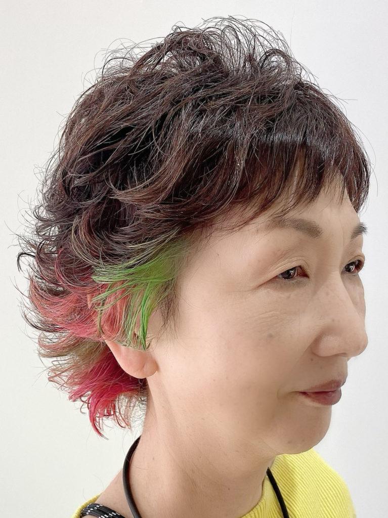 ミセス個性派デザインカラーカット写真