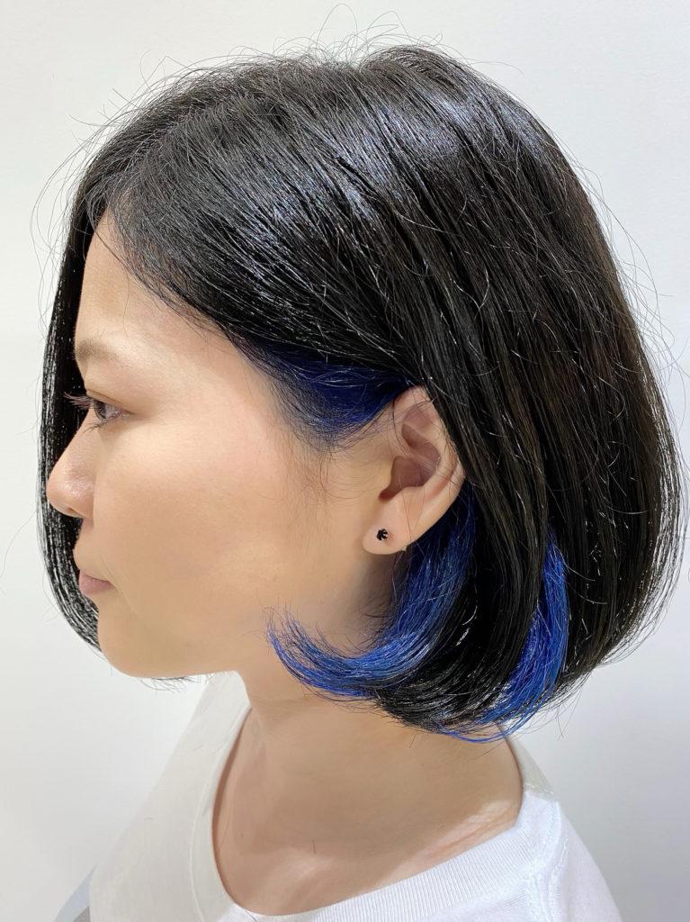 ボブスタイル インナー 藍色カット写真
